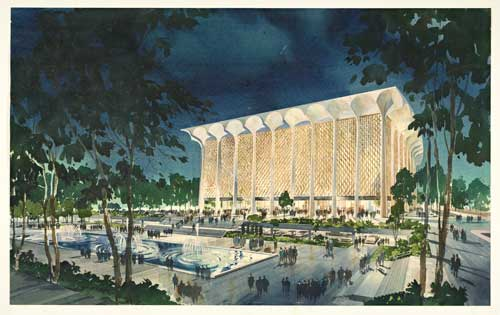 Dorothy Chandler Pavilion, ca. 1960. Welton Becket Associates. Watercolor on lightweight board laminate. The Getty Research Institute, copyright J. Paul Getty Trust.