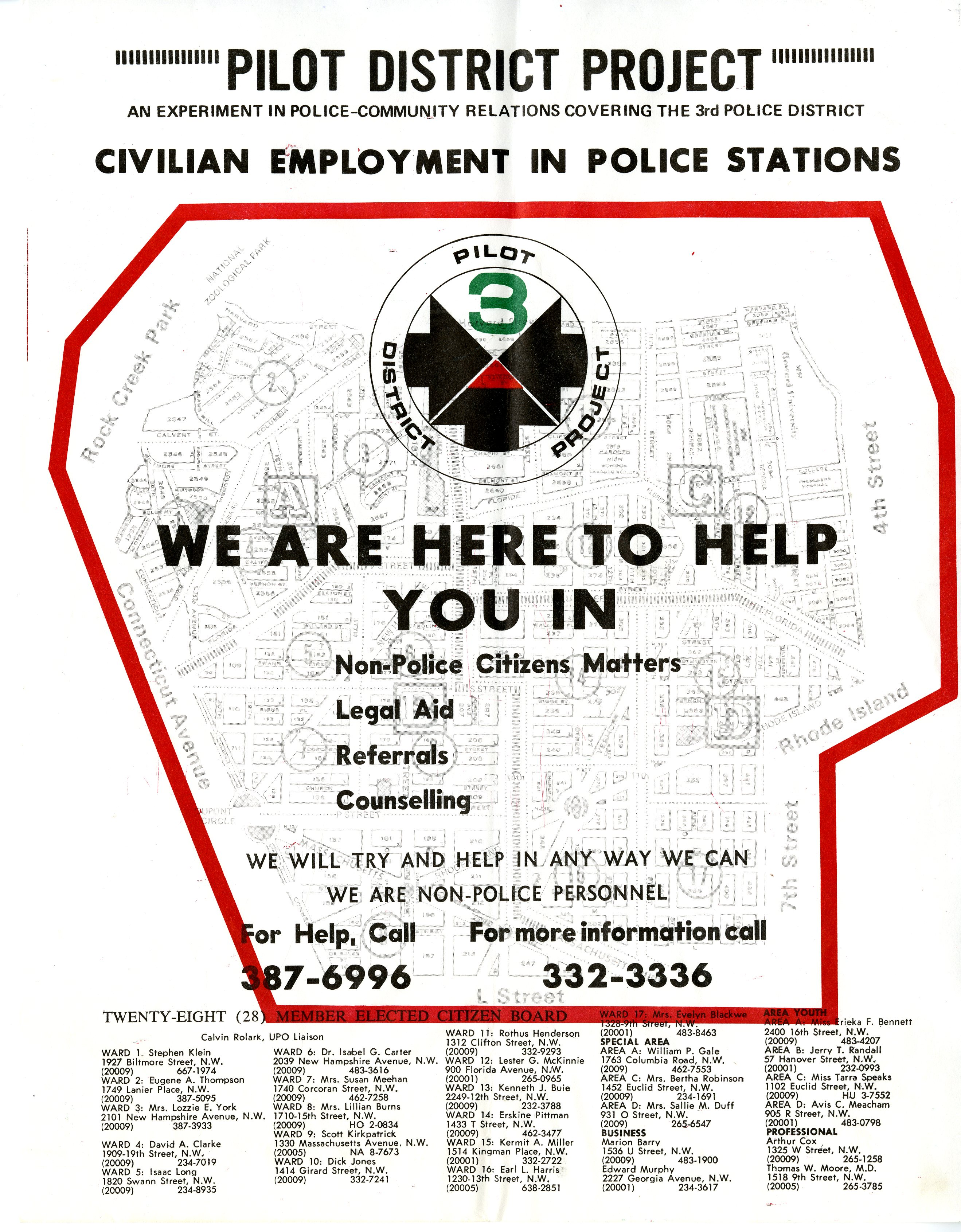 PDP Civilian Employment in Police Stations flyer, c.1971.
