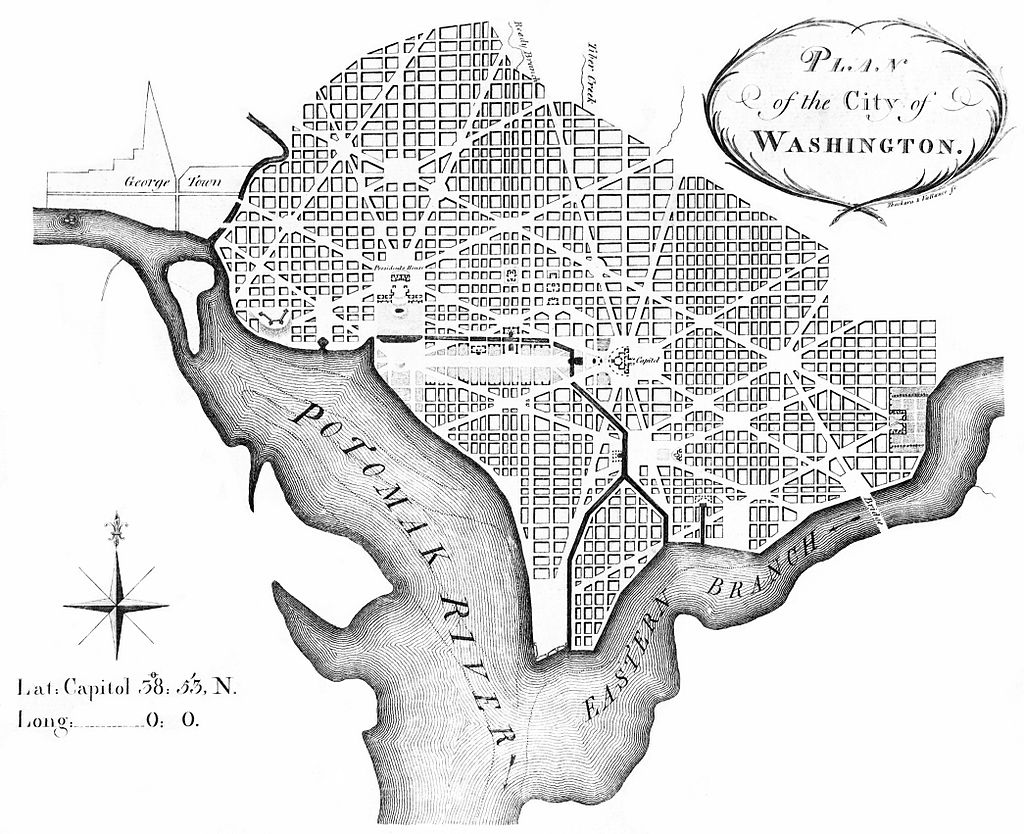 "Andrew Ellicott's revision of L'Enfant's 1791 plan for the ""Federal City"", later Washington City, District of Columbia (Thackara & Vallance, Philadelphia, 1792}."