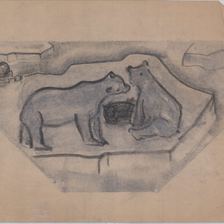 Polar bears, stone art sketch by Heinz Warneke, 20th century. Courtesy Washington National Cathedral Construction Archives Collection.