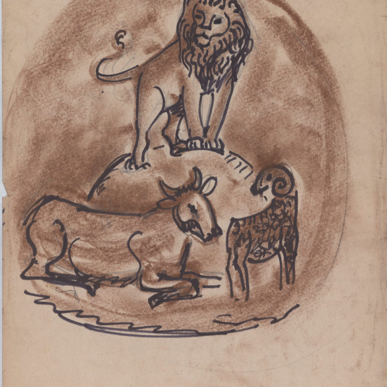 Lion, Bull, and Ram, stone art sketch by Heinz Warneke, 20th century. Courtesy Washington National Cathedral Construction Archives Collection.