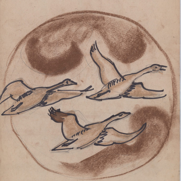 Flying geese stone art sketch by Heinz Warneke, 20th century. Courtesy Washington National Cathedral Construction Archives Collection.