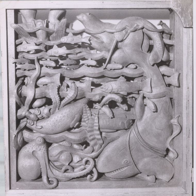 Animals of the sea, sculpture photograph by Byron Chambers, 20th century. Courtesy Washington National Cathedral Construction Archives Collection.