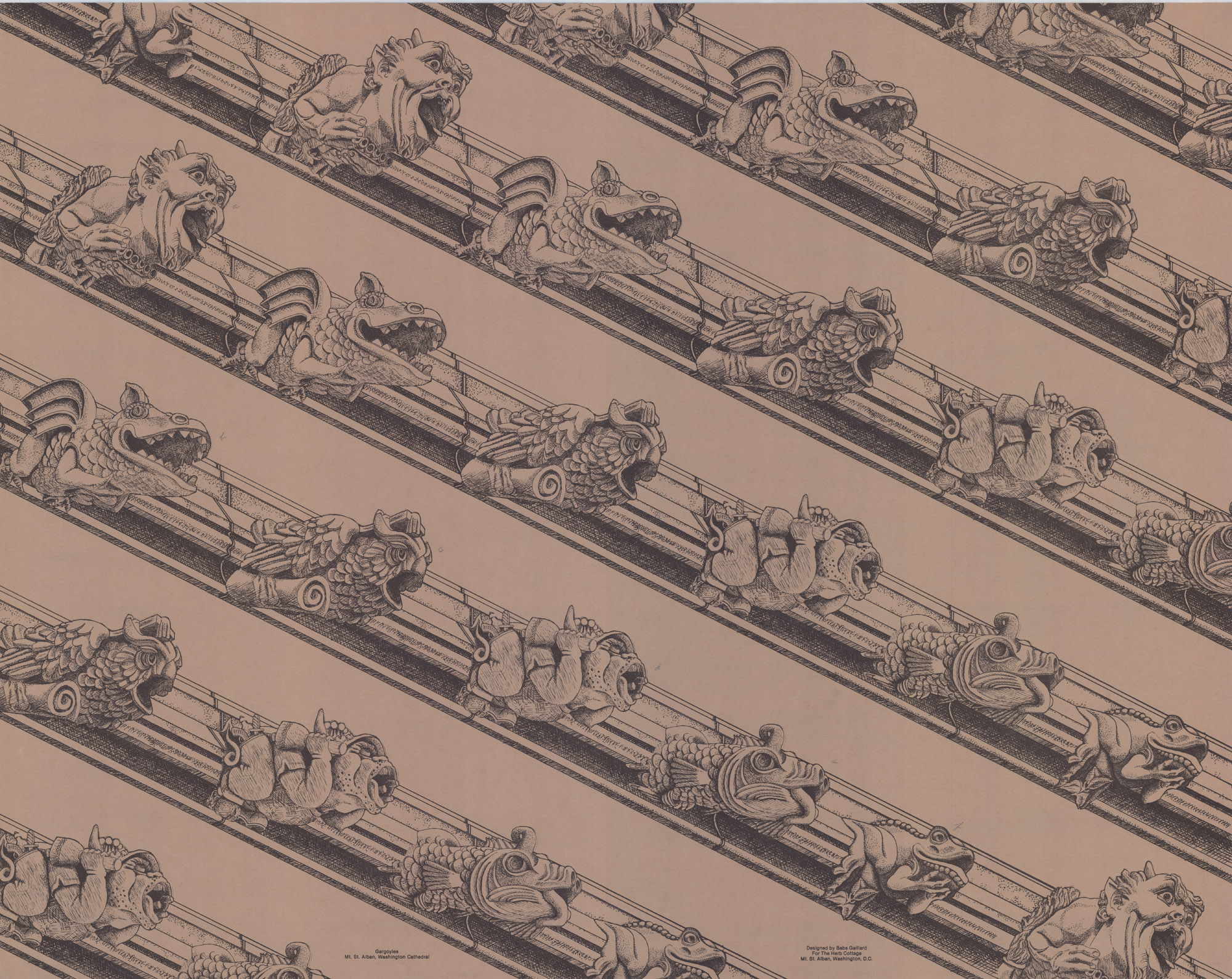 Gargoyle wrapping paper sample, designed for Herb Cottage by Babs Gaillard. Courtesy Washington National Cathedral Construction Archives Collection.