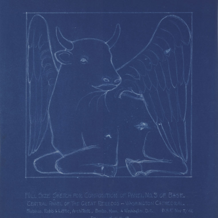 Blueprint sketch of winged bull, by Frohman, Robb & Little Architects. Courtesy Washington National Cathedral Construction Archives Collection.