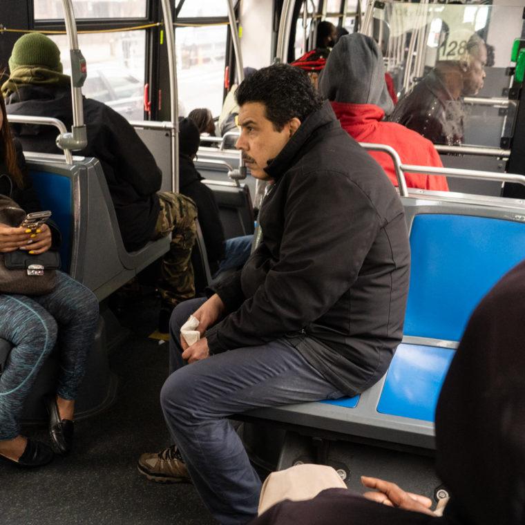 March 18, 2020: Riding the 15 bus, Willis Avenue at East 138th Street, Bronx, New York. © Camilo José Vergara