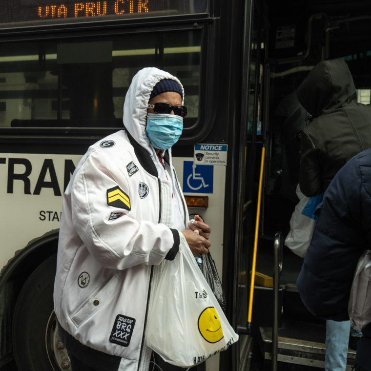 March 16, 2020: Boarding the bus at Market and Broad Streets, Newark, New Jersey. © Camilo José Vergara