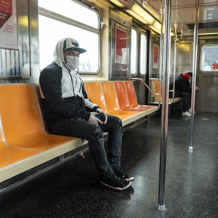 March 17, 2020: Riding the 3 train, Rockaway Avenue, Brooklyn, New York. © Camilo José Vergara
