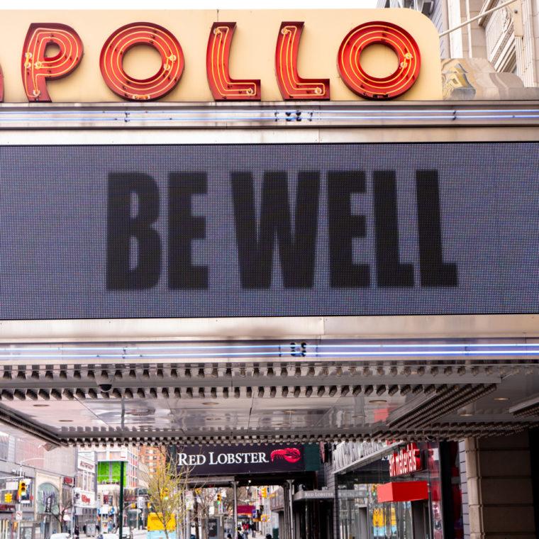 April 4, 2020: Apollo Theater marquee, 253 West 125th Street, Harlem, New York, New York. © Camilo José Vergara
