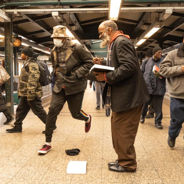 March 17, 2020: Evangelist at Broadway Junction subway station, Brooklyn, New York. © Camilo José Vergara