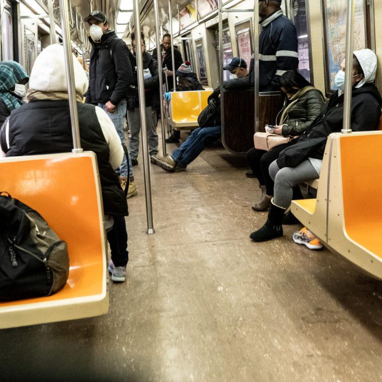March 25, 2020: Riding the A train at Broadway Junction subway station, Brooklyn, New York. © Camilo José Vergara