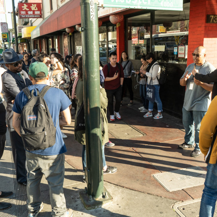 March 11, 2020: Guided tour of Chinatown outside Huangcheng Noodle House, 734 Webster Street, Oakland, California. © Camilo José Vergara