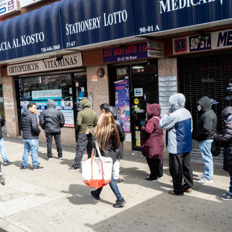 March 22, 2020: Waiting in line outside Al Kosto Pharmacy, 37-65 90th Street, Queens, New York. © Camilo José Vergara