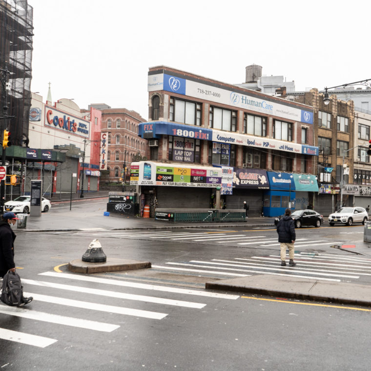 March 29, 2020: Nearly empty intersection at East 149th Street and Third Avenue, Bronx, New York. © Camilo José Vergara