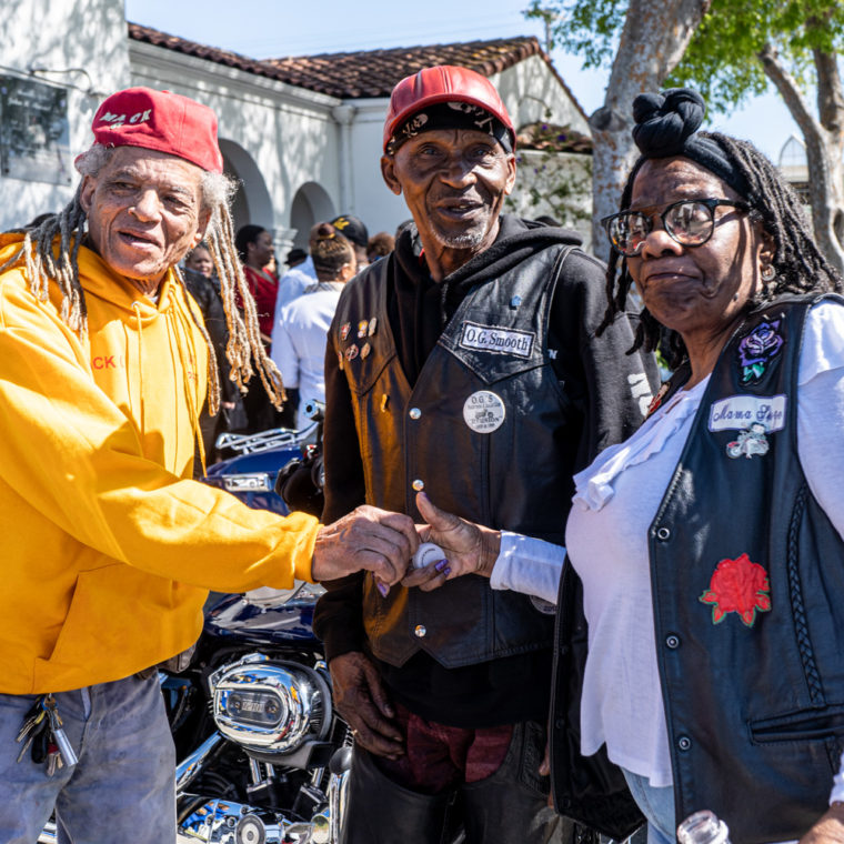 March 11, 2020: Members of Bay Area motorcycle clubs at a memorial service for their friend Spiderman, Stewart's Rose Manor Funeral Service, 3331 Macdonald Avenue, Richmond, California. © Camilo José Vergara