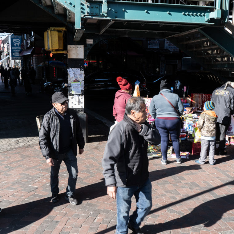 March 15, 2020: Outside the Junction Boulevard subway station at Roosevelt Avenue, Queens, New York. © Camilo José Vergara
