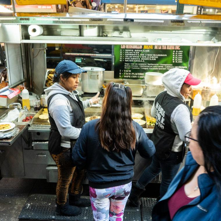 March 15, 2020: Las Quesadillas de Tia Elena food truck, 85-13 Roosevelt Avenue at Junction Boulevard, Queens, New York. © Camilo José Vergara