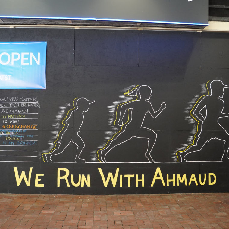 Gallery Place Murals 2: We Run With Ahmaud, by Denver Smith Foundation