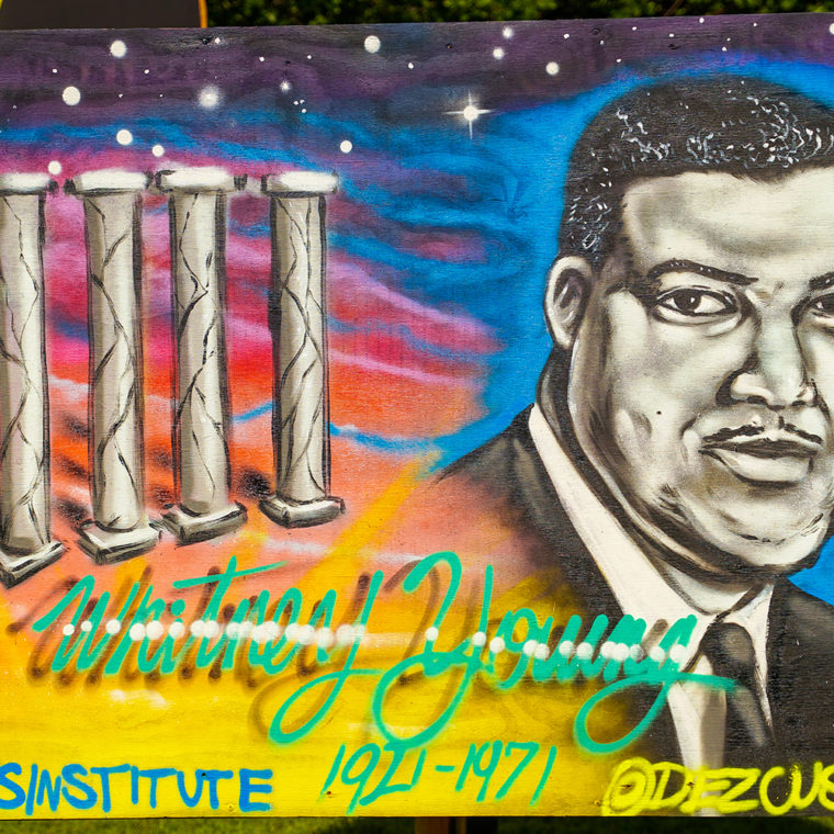 Big Six Murals 3: Whitney Moore Young Jr., by Dez Zambrano