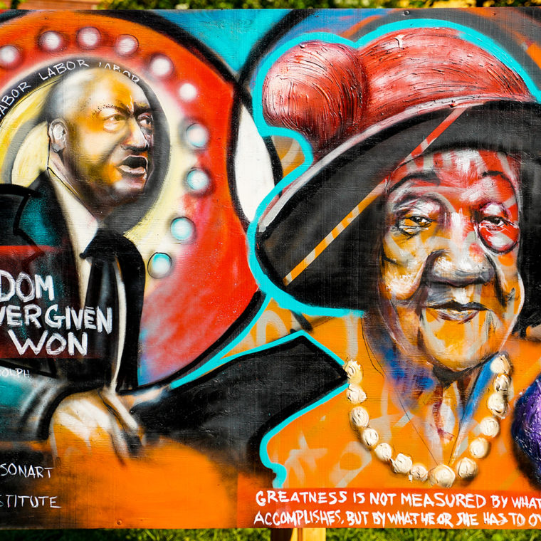 Big Six Murals 4: A. Philip Randolph & Dorothy Height, by Levi Robinson