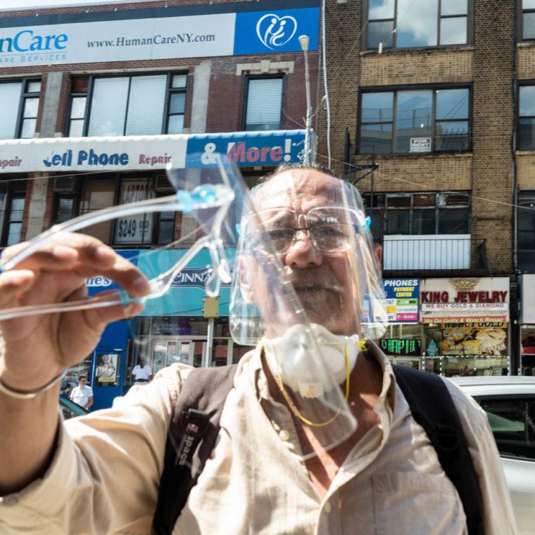 July 13, 2020: Man selling face shields. 2653 Third Avenue, Bronx, New York. © Camilo José Vergara