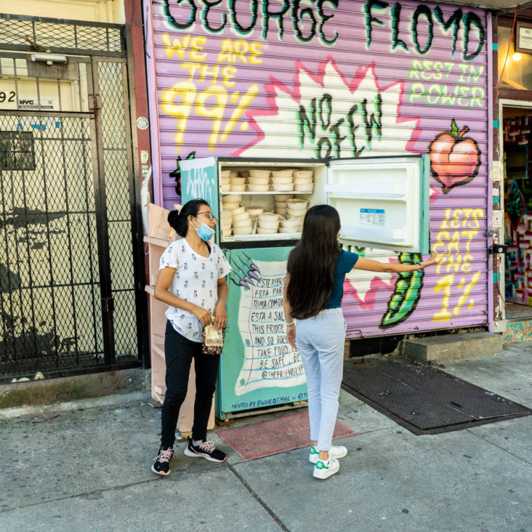 September, 5 2020: Community Fridge at 190 Knickerbocker Avenue, Bushwick, Brooklyn, New York. © Camilo José Vergara