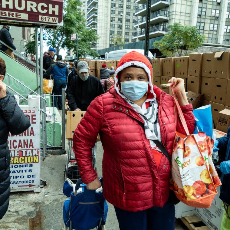 October 27, 2020: Free food distribution at the International Pentecostal Church, 617 West 179th Street, New York, New York. © Camilo José Vergara