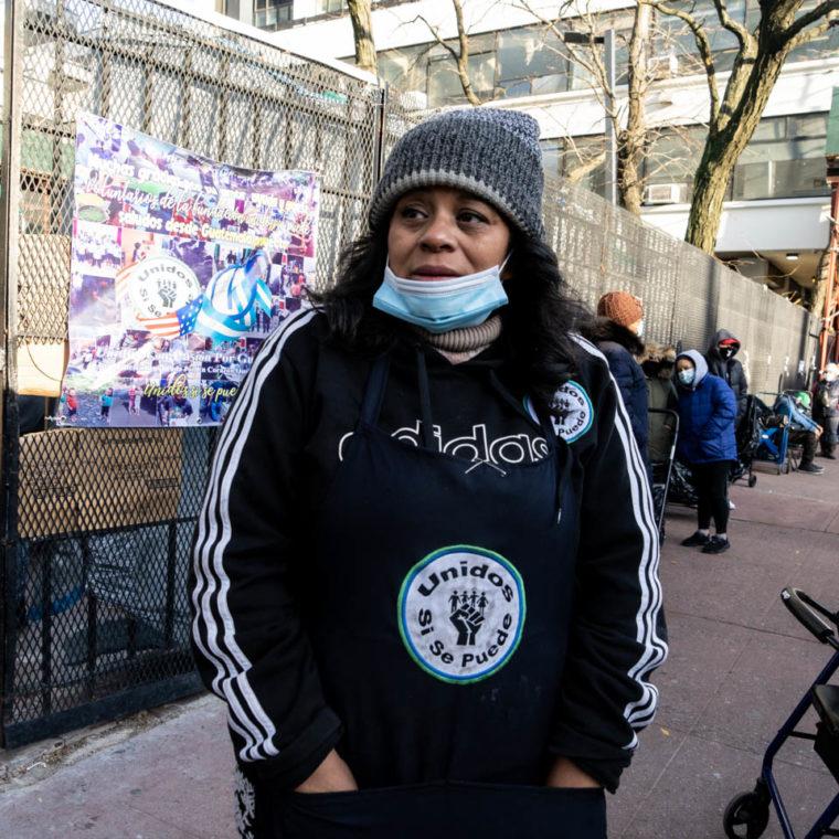 November 24, 2020: Elva Guevara, executive director of United Yes We Can food pantry. 221 East 122nd Street, Harlem, New York, New York. © Camilo José Vergara