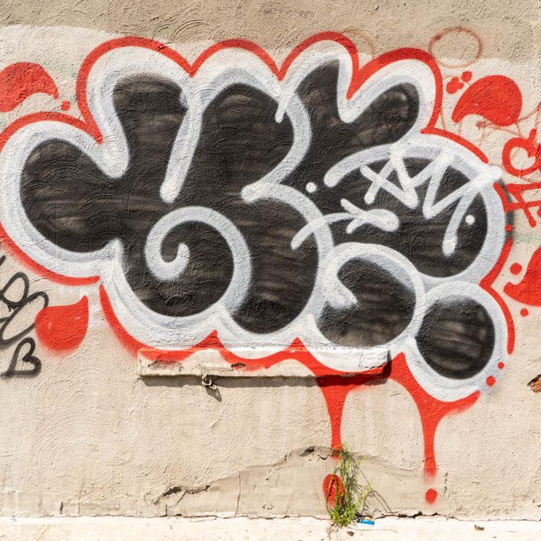 July 27, 2020: Droplets tag. Herkimer Place off Nostrand Avenue, Brooklyn, New York. © Camilo José Vergara