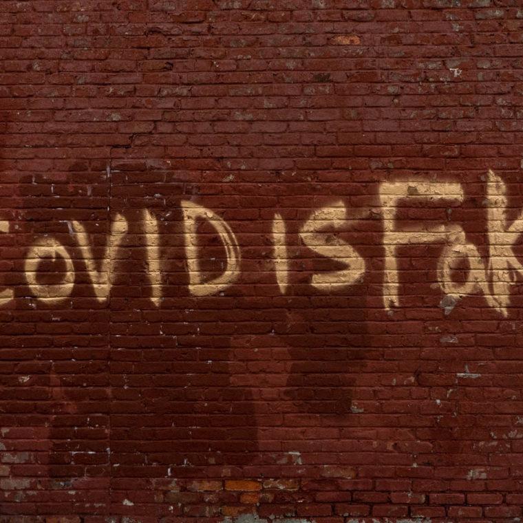 "September 22, 2020: ""Covid is Fake"" graffiti. East 146th Street at Third Avenue, Bronx, New York. © Camilo José Vergara"