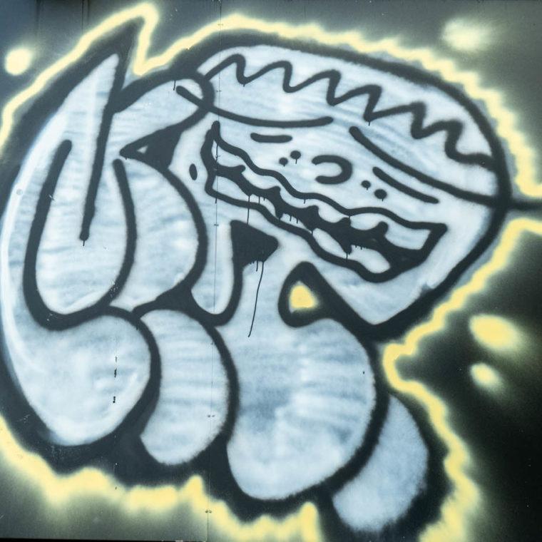 October 8, 2020: Crown-headed representation of the virus, shedding droplets. 226 West 125th Street Harlem, New York, New York. © Camilo José Vergara