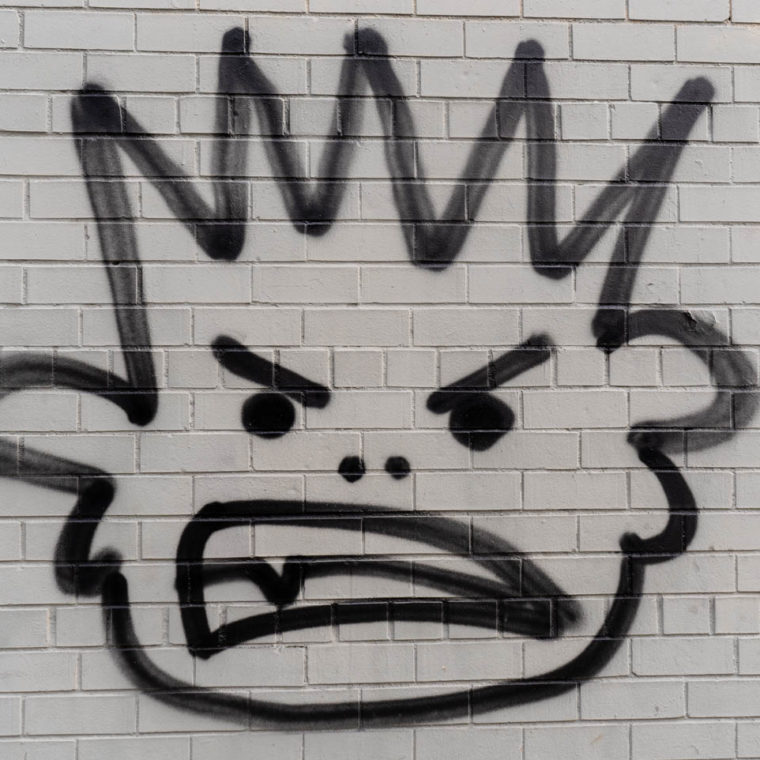 September 9, 2020: Angry Crowned head. Flushing Avenue west of Broadway, Brooklyn, New York. © Camilo José Vergara