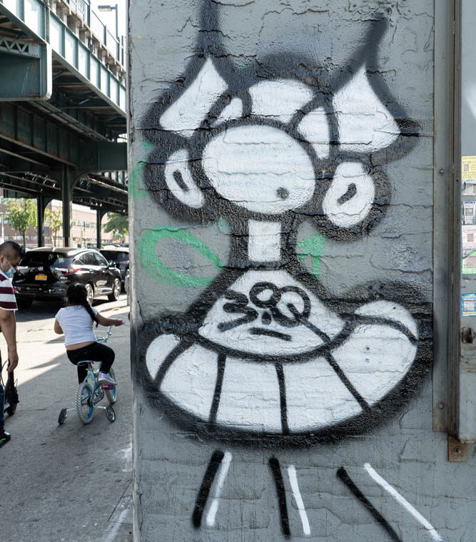 September 23, 2020: Masked figure inspired by Marvin the Martian. Parker Street at Westchester Ave, Bronx, New York. © Camilo José Vergara