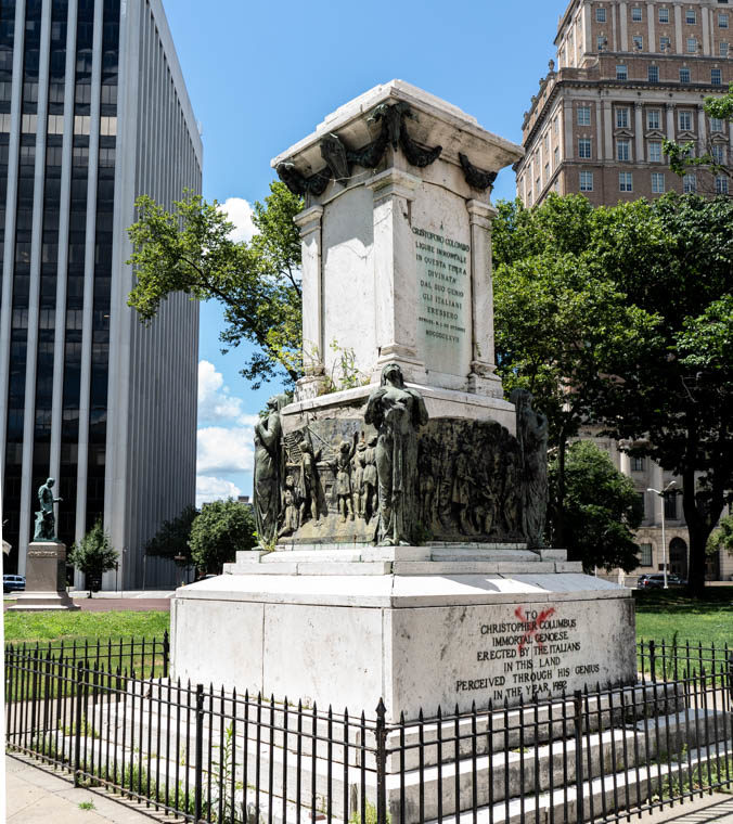 July 14, 2020: The pedestal supporting Christopher Columbus was left empty in June of 2020 when the city removed the statue. The sculpture was made in Rome in 1927. Washington Park, Newark, New Jersey. © Camilo José Vergara