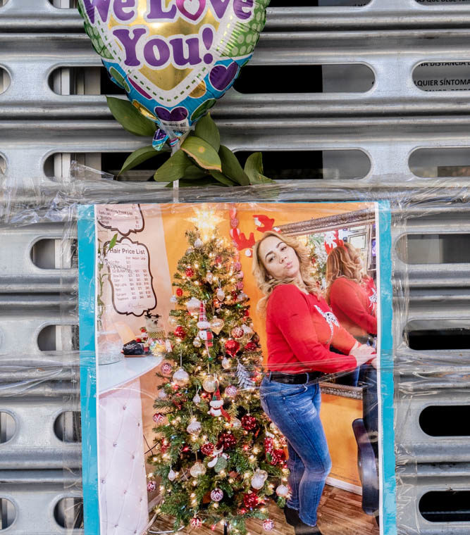 August 30, 2020: Memorial to Yaqueline, killed by her husband. 35-48 101 Street, Queens, New York. © Camilo José Vergara