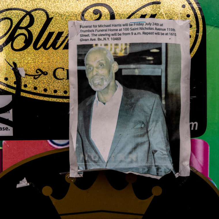 "November 26, 2020: Portrait of Michael Harris. The United Grocery Convenience owner told me, ""People knew him around here."" 2504 Adam Clayton Powell Boulevard, Harlem, New York, New York. © Camilo José Vergara"