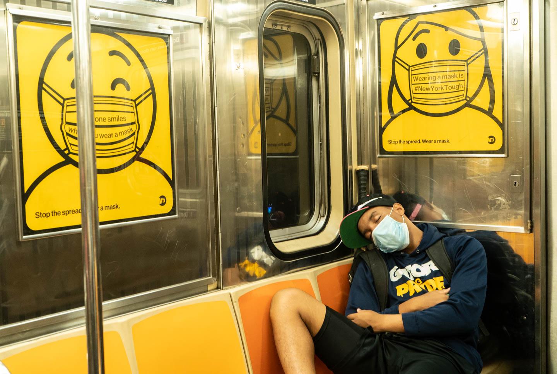 September 15, 2020: Sleeping on the 1 train, Upper West Side, New York, NY. © Camilo José Vergara
