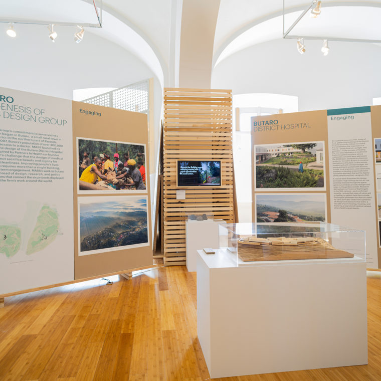 Exploration of MASS Design Group's work on heathcare facilities in Butaro, Rwanda, forms the backbone of the exhibition.