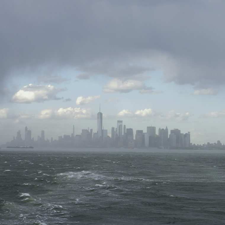 View north across New York Harbor to Lower Manhattan from The Staten Island Ferry; 2021.