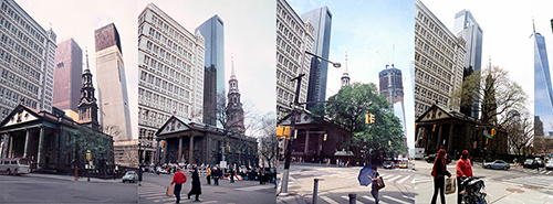 Montage of four photographs taken at St. Paul's Chapel, Broadway at Fulton Street, New York, New York.