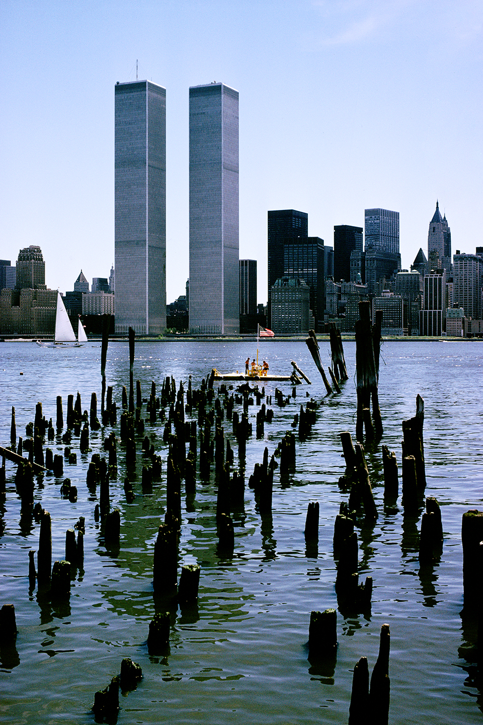 View east across the Hudson River from Exchange Place, Jersey City, New Jersey; July 4, 1978.