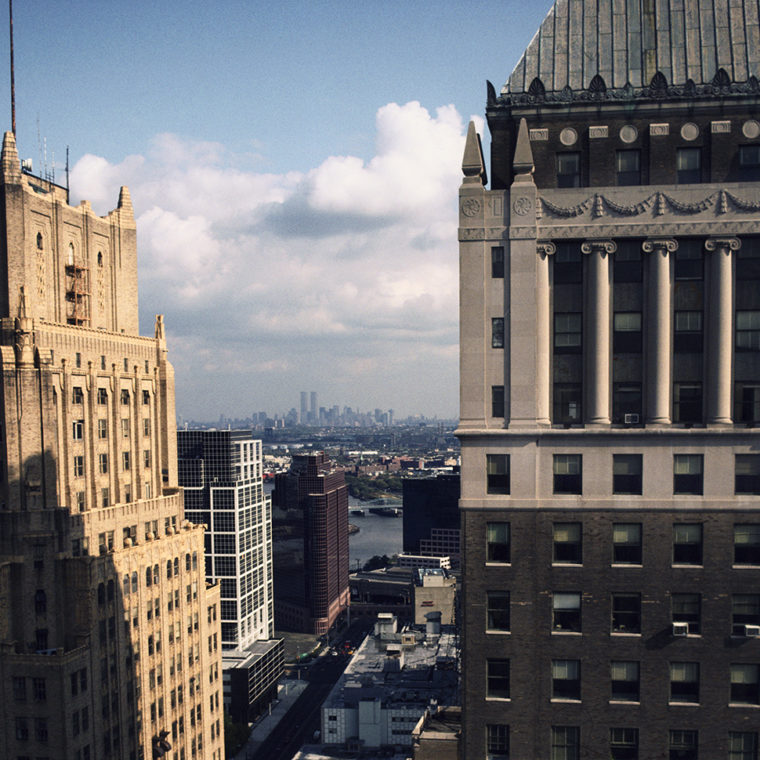 View east from downtown Newark, New Jersey (in the foreground from left to right: the Lefcourt Newark and National Newark Buildings); 1992.