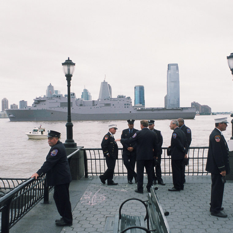 View west to Jersey City from Battery Park City, New York, New York; September 11, 2011.